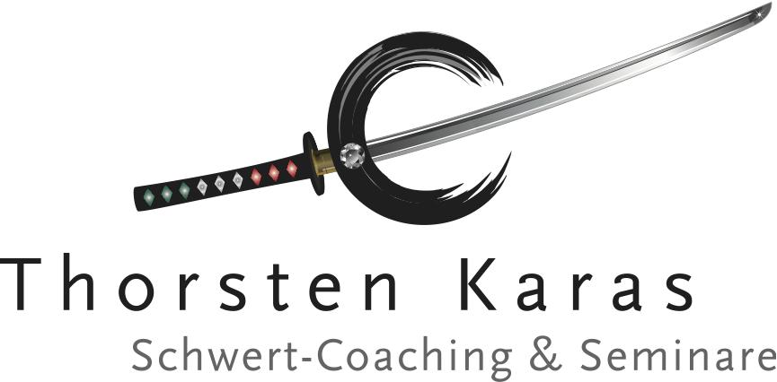 Logo Schwert-Coaching & Seminare-Thorsten Karas - Samurai-Schwert mit stilisiertem Zen-Kreis